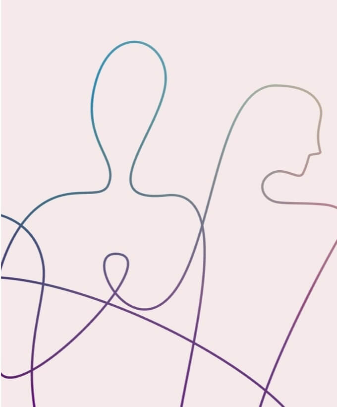 Line drawing of two humans