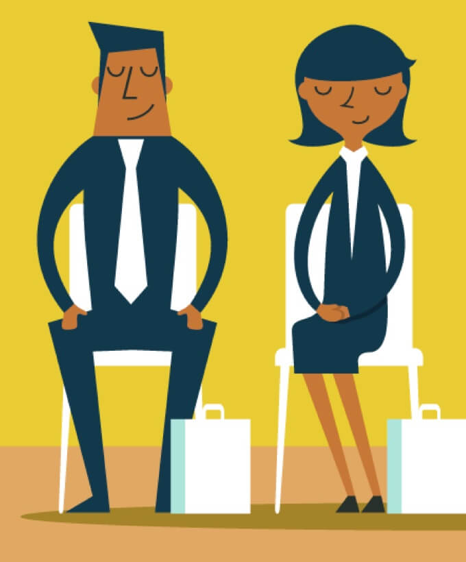 Illustration of man and woman sitting in chairs with a work bag at their feet